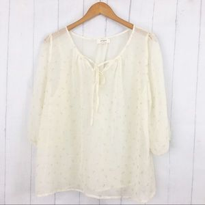 Umgee Sheer Cream with Anchors Blouse